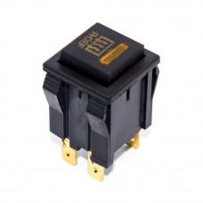 Кнопка квадратная без фиксации, подсветка 12V желтая, 4 контакты