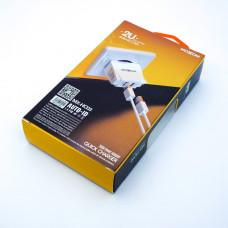 Сетевое зарядное устройство MX-HC03, MOXOM (2 USB, 2.4A, auto-id), с кабелем micro USB