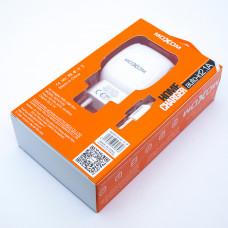 Зарядка USB (СЗУ) KH-69, MOXOM (2 USB, 2.4A, auto-id), с кабелем micro USB