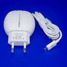 Сетевое зарядное устройство MX-HC02, MOXOM (2 USB, 2.4A, auto-id), с кабелем micro USB