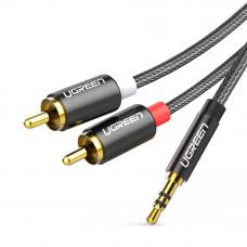 Шнур аудио, штекер 3.5мм стерео - 2 штекера RCA, UGREEN, HQ, 2.0м, кабель в сетке