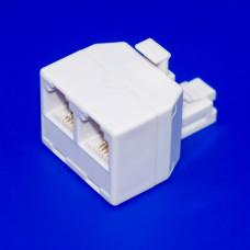 Телефонный переходник 6р4с (RJ11), 1 штекер - 2 гнезда, корпус белый, пластик