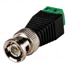 Штекер BNC, монтаж кабеля под винты, корпус пластик, зеленый