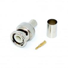 Штекер BNC, обжимной на кабель RG-6U, корпус металлический