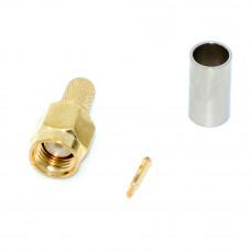 Штекер SMA прямой (на кабель RG-58) обжимной, Gold