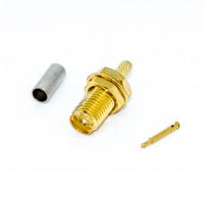 Гнездо SMA-RP, реверсное (на кабель RG-174) обжимное, Gold