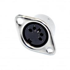 Разъём аудио DIN, гнездо 5pin (СГ5), монтажное 2 отверстия, металлический корпус