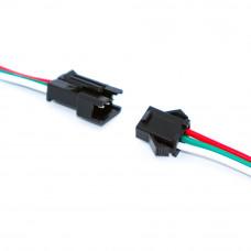 Разъем питания SM-3P mini DC на 3 контакта, комплект (штекер + гнездо), с кабелем