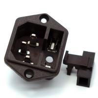 Штекер сетевой C14 (AC03) с гнездом предохранителя, 3 контакти, монтажный