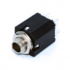 Разъём аудио, гнездо 6.3мм стерео NYS234, REAN, монтажное под гайку или в плату вертикально, квадратное