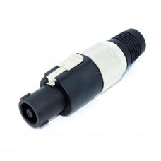 Штекер Спикон, 4 контакты, на кабель, металлическая гайка