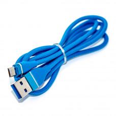 Кабель micro USB, штекер Micro B 5pin - штекер AM, 1.0м, в сетке, синий