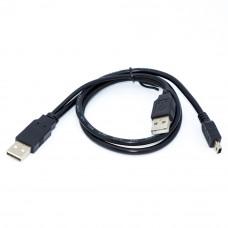 Кабель mini USB, штекер 5pin - 2 штекера AM, длина-0.75м, с дополнительным питанием